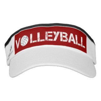 Red and White Volleyball Sport Sun Visor