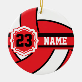 Red and White Volleyball with DIY Text Round Ceramic Ornament