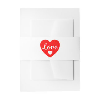 Red And White Wedding Love Heart Invitation Band Invitation Belly Band