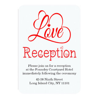 "Red And White Wedding Reception Love Hearts 3.5"" X 5"" Invitation Card"