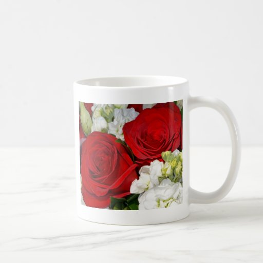 Red and white wedding roses bouquet coffee mugs