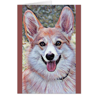 Red and White Welsh Corgi Card