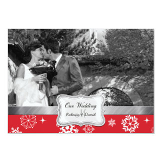 Red and White Winter Snowflakes Wedding invites