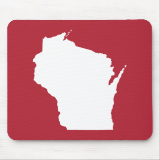 Red and White Wisconsin Shape Mouse Pad