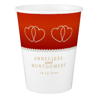 Red and White with Gold Hearts Paper Cup