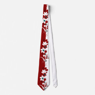 Red and White with Teal Split Floral Tie