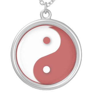 Red and White Yin & Yang Silver Plated Necklace