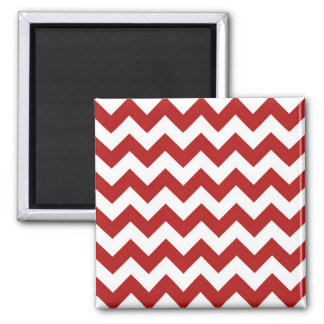 Red and White Zigzag Square Magnet