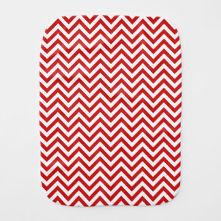 Red and White Zigzag Stripes Chevron Pattern Baby Burp Cloths