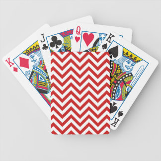 Red and White Zigzag Stripes Chevron Pattern Bicycle Playing Cards