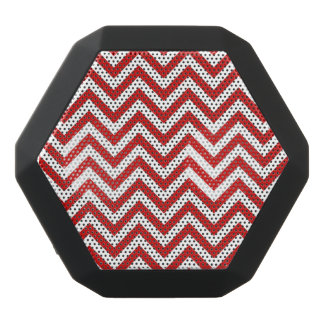 Red and White Zigzag Stripes Chevron Pattern Black Bluetooth Speaker