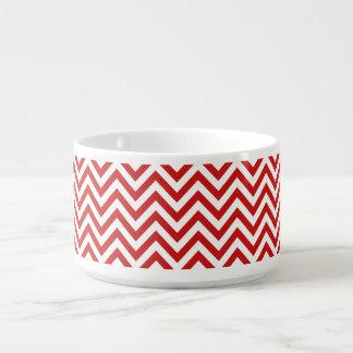 Red and White Zigzag Stripes Chevron Pattern Bowl