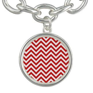 Red and White Zigzag Stripes Chevron Pattern Bracelet