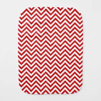 Red and White Zigzag Stripes Chevron Pattern Burp Cloth