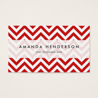 Red and White Zigzag Stripes Chevron Pattern Business Card