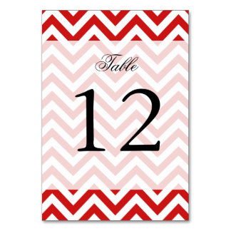Red and White Zigzag Stripes Chevron Pattern Card
