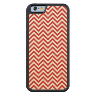 Red and White Zigzag Stripes Chevron Pattern Carved Maple iPhone 6 Bumper Case