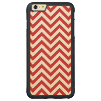 Red and White Zigzag Stripes Chevron Pattern Carved Maple iPhone 6 Plus Bumper Case