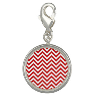 Red and White Zigzag Stripes Chevron Pattern Charm