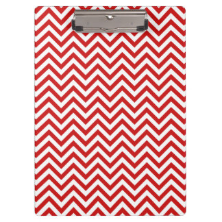 Red and White Zigzag Stripes Chevron Pattern Clipboard
