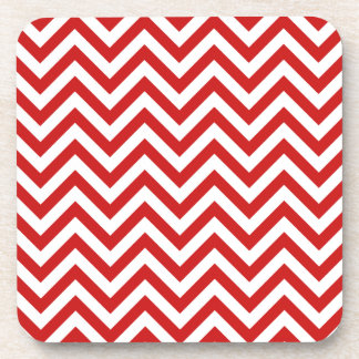 Red and White Zigzag Stripes Chevron Pattern Coaster