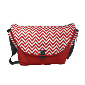 Red and White Zigzag Stripes Chevron Pattern Commuter Bags