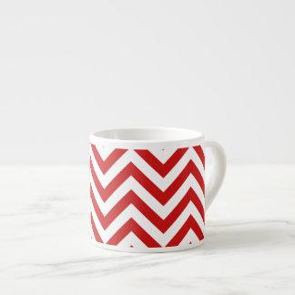 Red and White Zigzag Stripes Chevron Pattern Espresso Cup