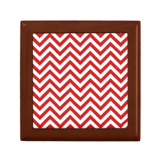 Red and White Zigzag Stripes Chevron Pattern Gift Box