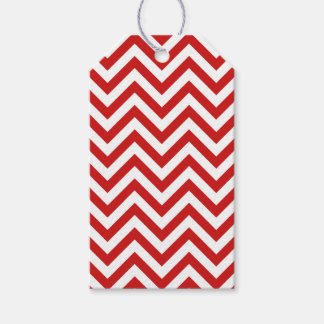 Red and White Zigzag Stripes Chevron Pattern Gift Tags