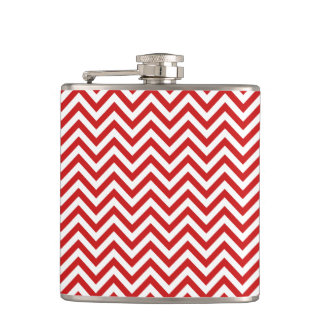 Red and White Zigzag Stripes Chevron Pattern Hip Flask