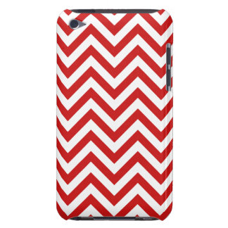 Red and White Zigzag Stripes Chevron Pattern iPod Touch Case-Mate Case