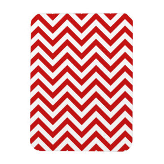Red and White Zigzag Stripes Chevron Pattern Magnet