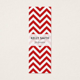 Red and White Zigzag Stripes Chevron Pattern Mini Business Card