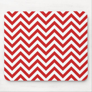 Red and White Zigzag Stripes Chevron Pattern Mouse Pad