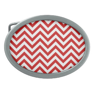Red and White Zigzag Stripes Chevron Pattern Oval Belt Buckles