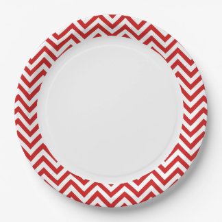 Red and White Zigzag Stripes Chevron Pattern Paper Plate