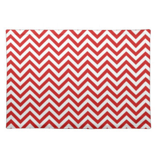 Red and White Zigzag Stripes Chevron Pattern Placemat