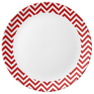 Red and White Zigzag Stripes Chevron Pattern Plate