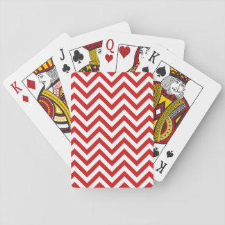 Red and White Zigzag Stripes Chevron Pattern Playing Cards