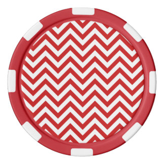 Red and White Zigzag Stripes Chevron Pattern Poker Chips