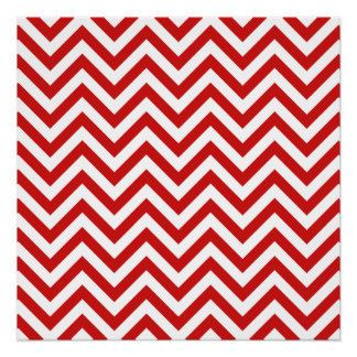 Red and White Zigzag Stripes Chevron Pattern Poster