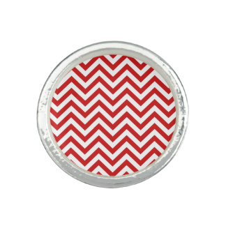 Red and White Zigzag Stripes Chevron Pattern Rings