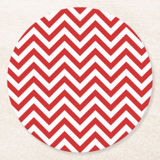 Red and White Zigzag Stripes Chevron Pattern Round Paper Coaster