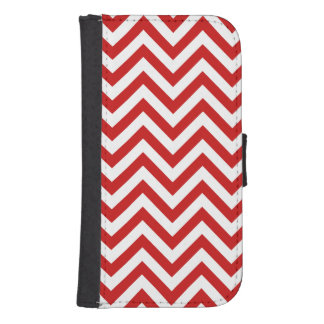 Red and White Zigzag Stripes Chevron Pattern Samsung S4 Wallet Case