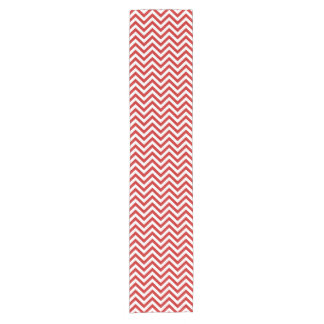 Red and White Zigzag Stripes Chevron Pattern Short Table Runner