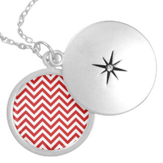 Red and White Zigzag Stripes Chevron Pattern Silver Plated Necklace