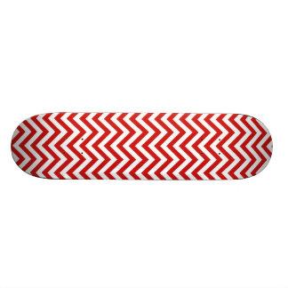 Red and White Zigzag Stripes Chevron Pattern Skate Board Deck