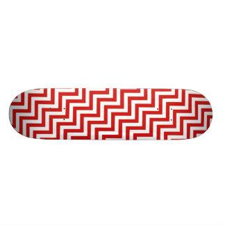 Red and White Zigzag Stripes Chevron Pattern Skateboard Deck