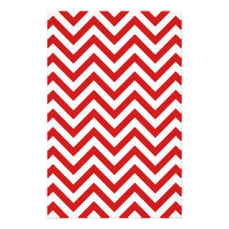 Red and White Zigzag Stripes Chevron Pattern Stationery