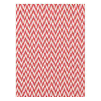 Red and White Zigzag Stripes Chevron Pattern Tablecloth